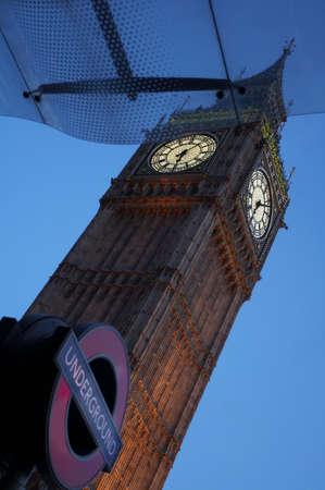 Tower of Big Ben clock in London at night.