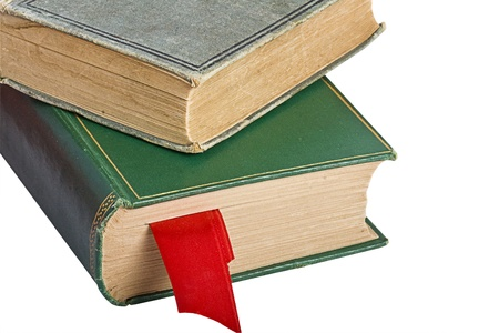 antiquary: Two old books with a red bookmark isolated on white Stock Photo