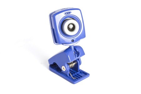 A blue-coloured web camera over white background  photo