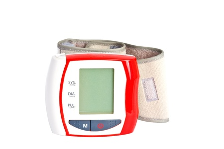 Red and white blood pressure meter isolated over white background
