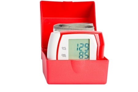 meter box: Red wrist pressure meter in an open box isolated over white background  Stock Photo