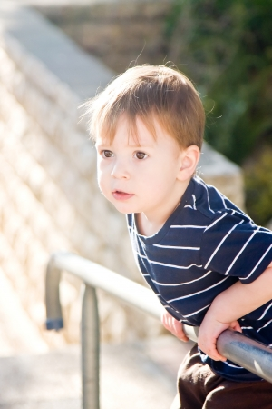 Little boy standing on the fence separating street and the yard Stock Photo - 14447365