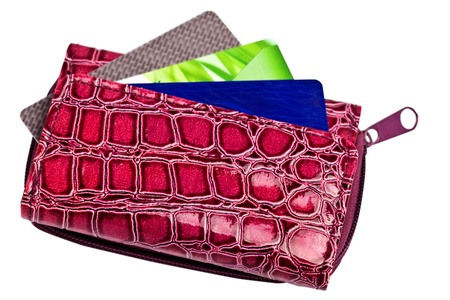 Purple women s vegan leather wallet with credit cards Stock Photo - 15492882