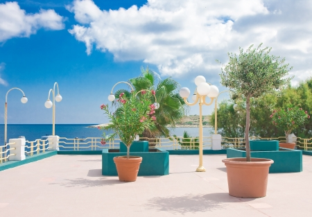 Beautiful seaside baluster with artificial garden and street lamps