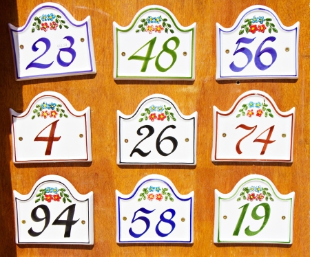 apartment market: Market stand selling apartment number tables Stock Photo