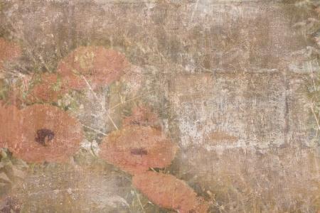 grange: Old damaged texture with orange flowers