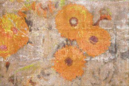 grange: Retro wallpaper with orange chrysanthemums