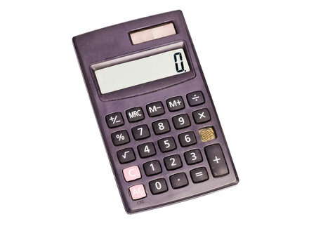 overwhite: Black calculator with zero on the display isolated over white background