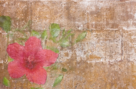 grange: Vintage wallpaper with single red bellflower and leaves Stock Photo