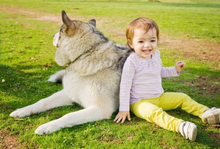 Happy cute toddler girl leaning on a large dog