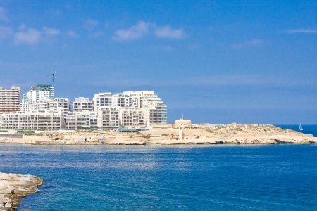 Building a new modern resort at seaside on Malta Stock Photo - 17534879
