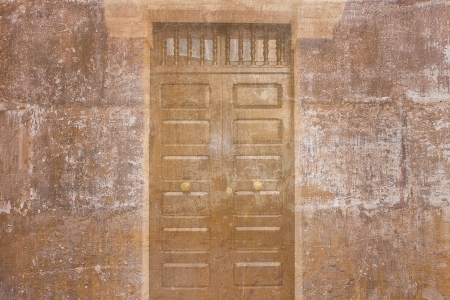 Retro wallpaper with a vintage wood door  photo
