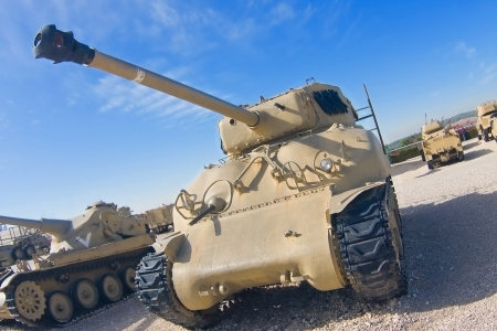 World War II Sherman tank upgraded with 105 mm cannon in a museum
