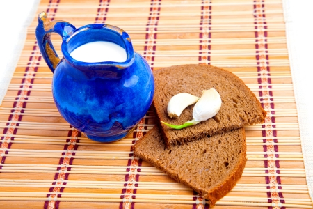 Bread and milk   simple food concept photo