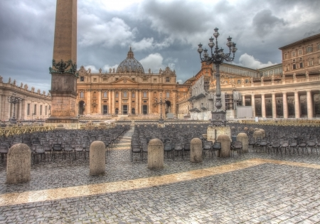 St Peter s square in dramatic lighting Stock Photo - 19739610