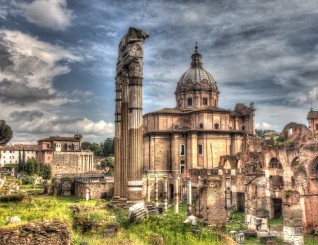 Landmark background with grungy old-style image of Trajan Stock Photo - 20601779