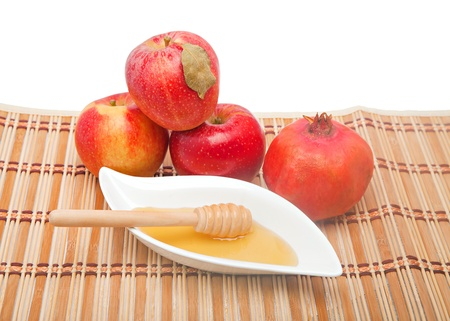 Selection of fruit and honey at Jewish New year photo