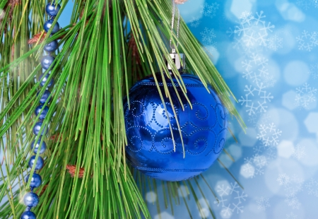 branche sapin noel: Blue necklace and a decoration ball on Christmas tree branch Banque d'images
