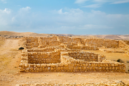 barracks: Remnant of Roman barracks in an ancient Roman war camp in Negev desert near Avdat Stock Photo