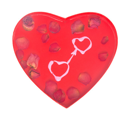 Loving hearts concept with two hand-drawn pink hearts and dry rose petals on red Valentine day heart-shaped background; isolated on white