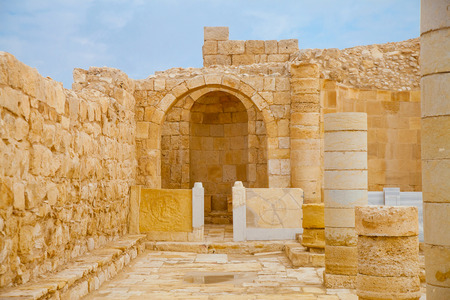Altar place in an ancient Christian church of an old Nabatean city Avdat in Negev desert Stock Photo