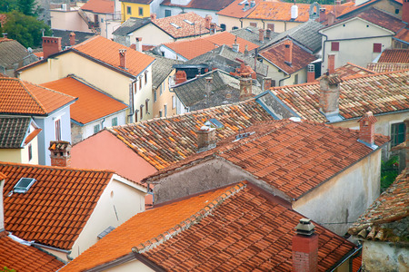 View of the old tile roofing in Eastern Europe Stock Photo
