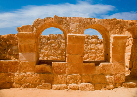 negev: The ruin of ancient stables in the remains of the old city of Mamshit (1-3 BC) in Negev, Israel