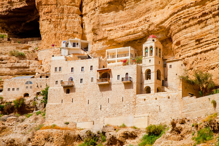 middle easter: Ancient Greek Orthodox convent of St. George on the rock (founded in the 5th century) in Vadi Quelt, Israel (the latest building is built before 1905) Stock Photo