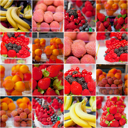 Fresh fruit on sale at marketplace, collage