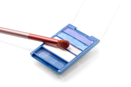 ligh: Ligh blue eyeshadow palette with a brush on white