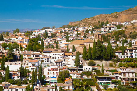 disctrict: View of the old moorish disctrict Albaicin in Granada on a hill Stock Photo