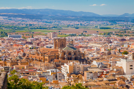 View of Granada - Cathedral and ourskirts of the city
