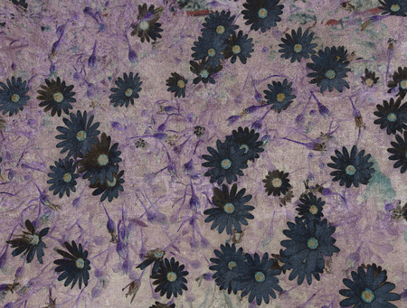 disorderly: Abstract vintage textured background with a disorderly lot of daisy-shape flowers and abstract strokes (violet tint)