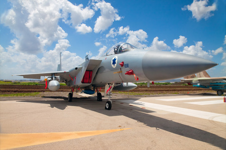 f 15: RAMAT DAVID, ISRAEL - APRIL 23: F-15 fighter at the exhibition for Israeli Independence Day on April 23, 2015 Editorial