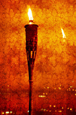 cloak and dagger: Vintage textured picture of glowing torch against a surface with reflections of lights (texture added, grunge effect image, toned red, retro styled) Stock Photo