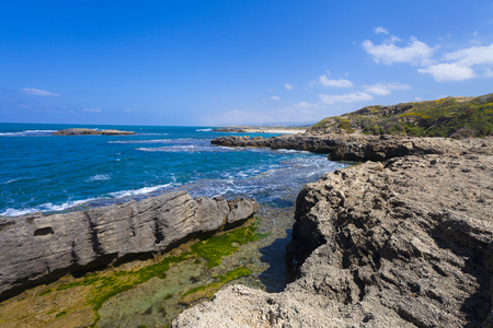large rocks: Amazing view on the seashore of Dor with large rocks and clear water Stock Photo