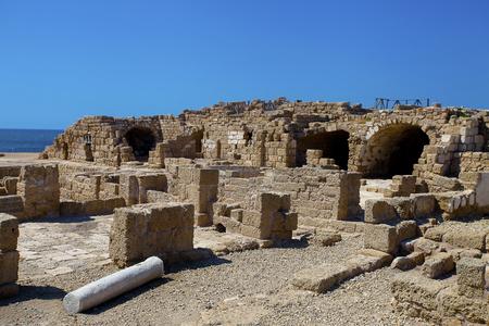 caesarea: Ruins of ancient buildings in Caesarea Maritime National Park, Israel