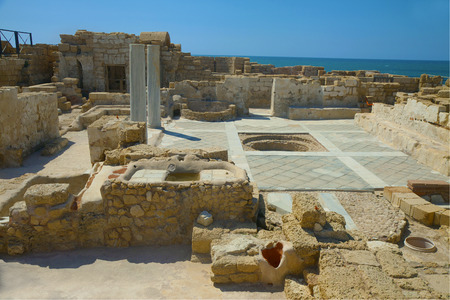 Well preserved remnants of ancient Byzantine house in Caesarea, Israel