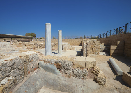 Remnants of ancient residential house in National Park of Caesarea, Israel