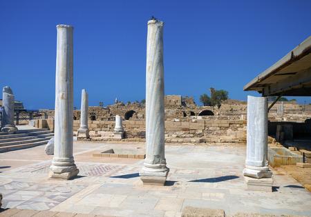 caesarea: Marble columns in the ruins of Caesarea, in Caesarea Maritima National Park, Israel Stock Photo
