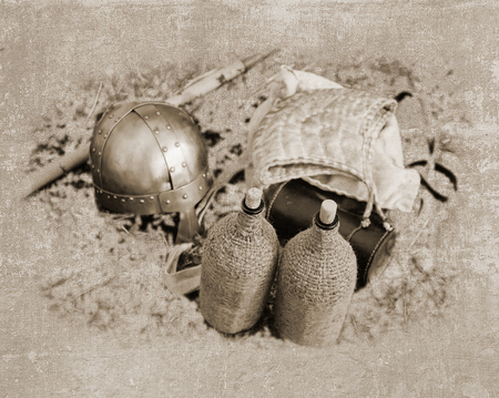 coif: Vintage picture with knight equipment