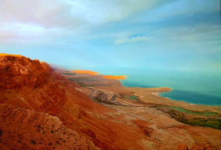 dead: The landscape of the Dead Sea shoreline at sunset (sunset lighting, toned image)