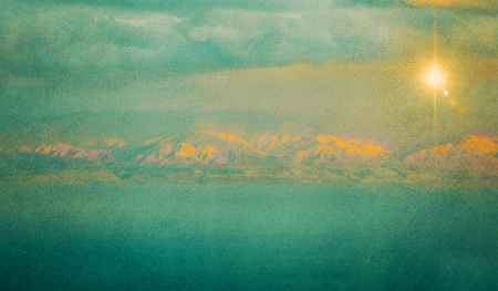 dead: Textured vintage image of Dead Sea and distant mountains at sunrise (texture, grunge effect, toning)