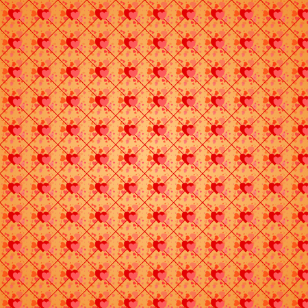 beating: Valentine beating hearts in the net on gold square seamless background