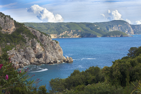 View of Paleokastritsa bay from a nearby cliff