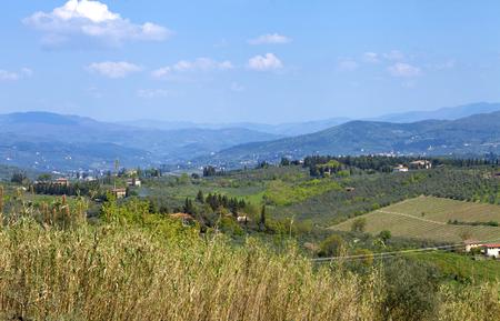 Romantic spring rural landscape in Chianti, Italy Stock Photo