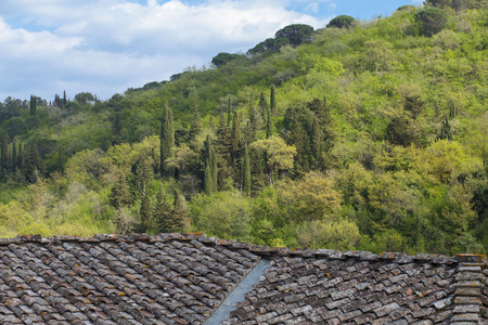 View on a green hill in Tuscany from an old farm house with tiling roof
