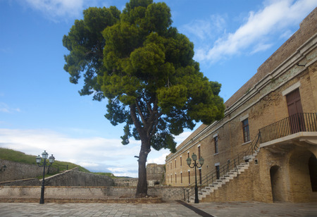 Inward yard of a medieval fortress in Corfu, Greece