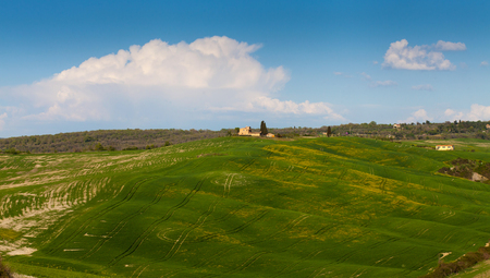 Amazing landscape woth green hills in Tuscany Stock Photo