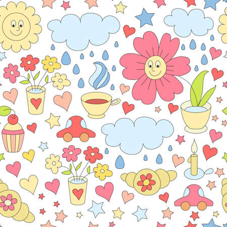 Vector childish cartoon seamless pattern with sweets, hearts, Vector